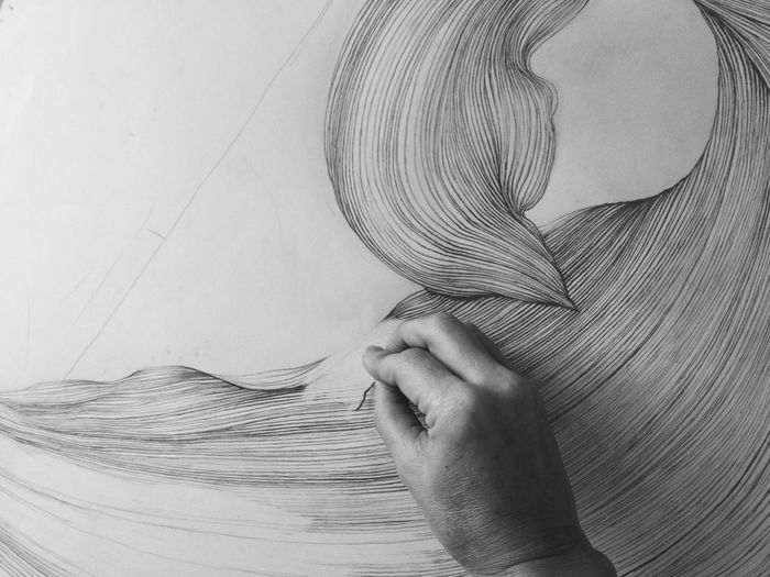 Erasing, to re-do the part that didn't make sense as a whole. Art Drawing Abstract Black And White Vscocam