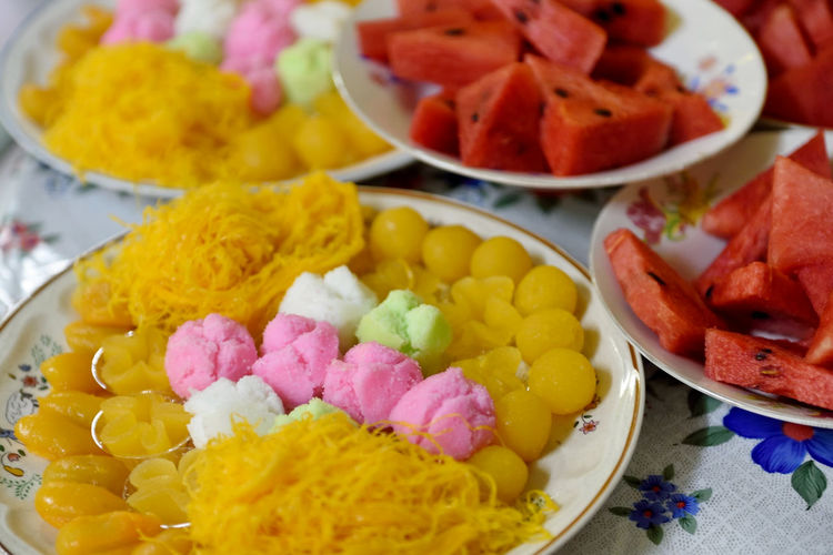 sweet dessert in wedding ceremony Dessert Green Pink Red Sweety Gloden Drop Bowl Choice Close-up Food Food And Drink Freshness Healthy Eating Marriage  Meal Multi Colored Plate Ready-to-eat Serving Size Watermelon Wedding Ceremony Yellow
