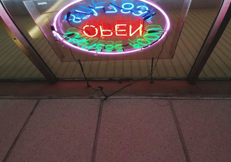 low angle view Neon Reflected Light Food Restaurants Low Angle View