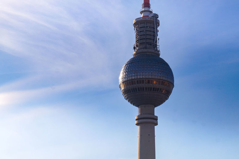 Berlin TV Tower Alexanderplatz Panorama Sky Architecture Built Structure Building Exterior Low Angle View Tall - High Tourism Tower Day Travel Travel Destinations Blue Communication Building Nature Sphere Outdoors City No People Spire  Office Building Exterior Skyscraper Global Communications TV Tower Alexanderplatz Berlin