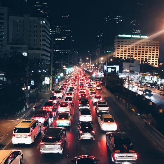Transportation Traffic Car Illuminated Red City Street Night Rush Hour City Street Traffic Jam City Life Mode Of Transport Land Vehicle Road Red Light Building Exterior Outdoors No People