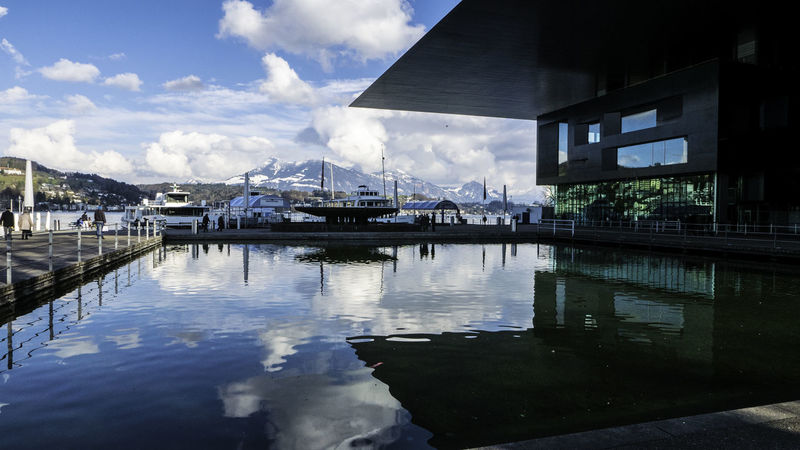 Architecture Building Exterior Built Structure City Cloud - Sky Day Kkl Lucerne Mountain No People Outdoors Reflection Sky Switzerland Ulcer Water