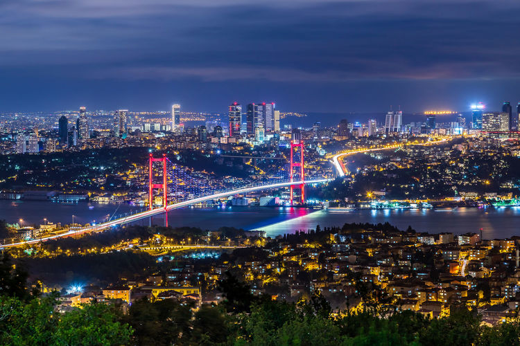 Istanbul turkey night photography of bosphorus bridge, connecting east to the west