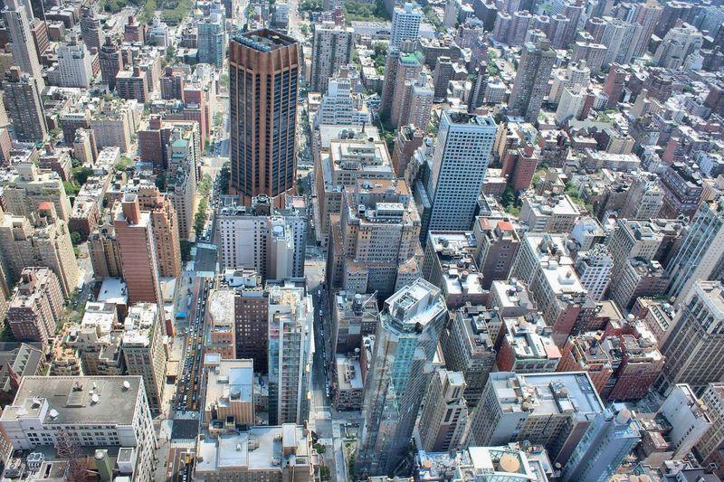 High angle view of new york city