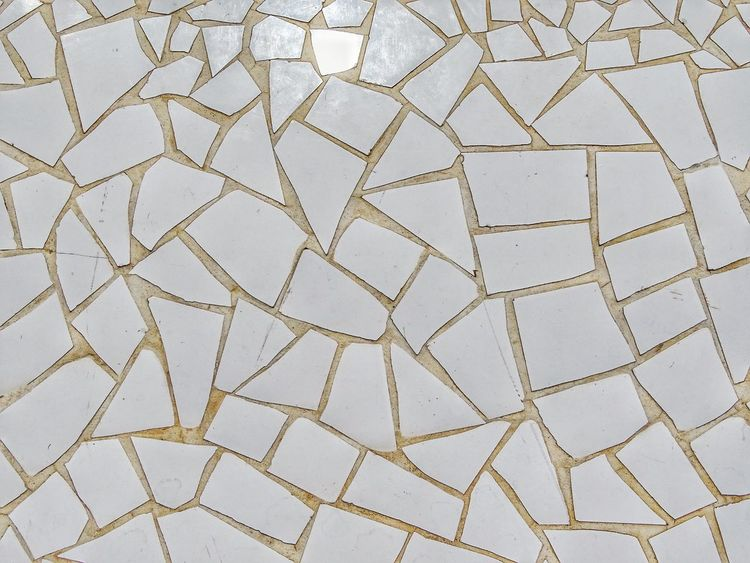 White mosaic White White Background Mediterranean  Grout Background Texture Textured  Background Mosaic Tiles Mosaic EyeEm Selects Full Frame Backgrounds Art And Craft Pattern No People Day High Angle View Textured  Land Design Close-up Flooring Craft Creativity Shape