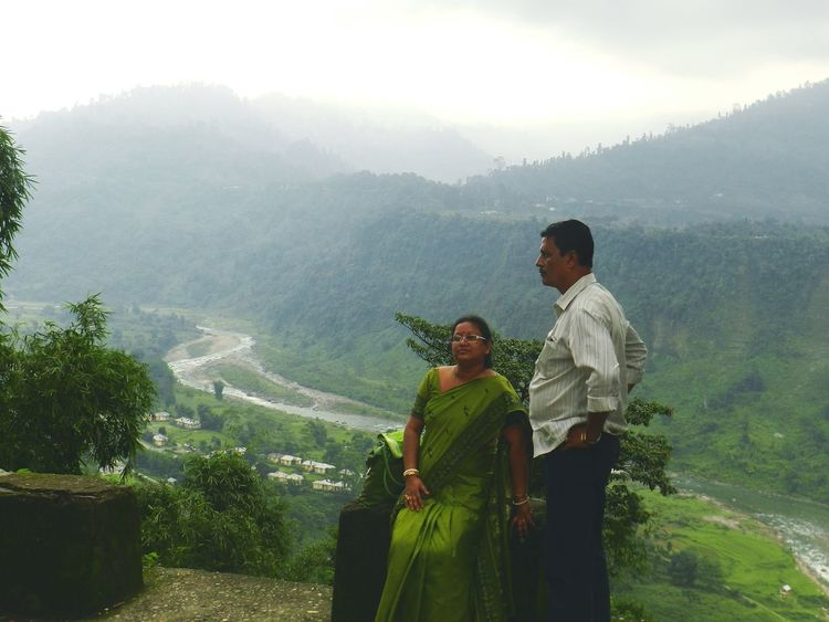 Two People Outdoors Mountain Togetherness India Indiapictures Indianstories Indian Culture  Parents ❤❤❤ Love ♥ Mid Adult Heterosexual Couple Men Adult Couple - Relationship Adults Only Traditional Clothing People Wife Nature Day Mountainscape Hills, Mountains, Sky, Clouds, Sun, River, Limpid, Blue, Earth