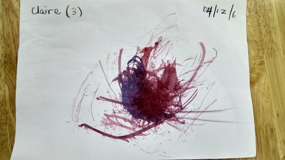 Child Painting Stained Blood Splattered Red Ink Splashing Drop Spooky Horror Paper No People Dissolving Close-up
