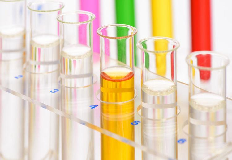 Close-up of multi colored liquid in test tubes