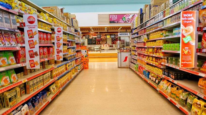 Supermarket interior design with various of foods products. Supermarket Shelf Consumerism Retail  Store Multi Colored Groceries Produce Aisle Shopping Basket Shopping Cart For Sale Display Market Shop