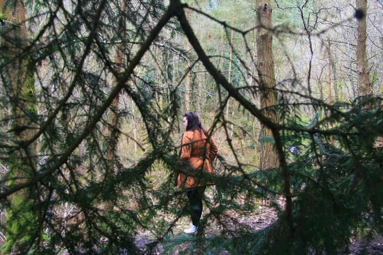 Woman Seen Through Trees At Forest