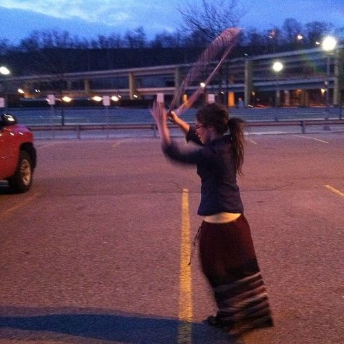 Every once in awhile, Buzzy takes pictures when I hoop! Our sesh in the empty lot before Mariachielbronx in PGH Clubae