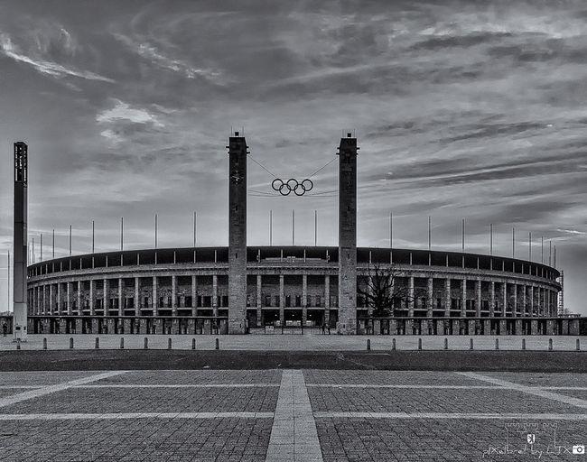 Zweite Runde, Endstation... Berlin Architecture Blackandwhite Historical Sights Black And White Monochrome Football Stadium Football Stadium Olympic Stadium