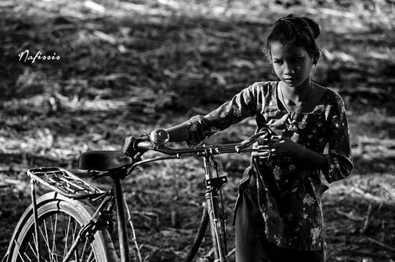 Nepal Girl Village Chitwan People Bicycle