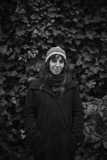 Autumn B&W Portrait Beautiful Woman Beauty Blackandwhite Cold Temperature Front View Ivy Jacket Knit Hat Leaf Lifestyles Looking At Camera Outdoors Portrait Portrait Of A Woman Real People Scarf Smiling Standing Warm Clothing Winter Young Adult Young Women Goretti Irisarri