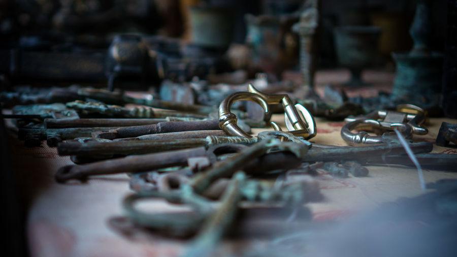 Close-up of old metallic keys