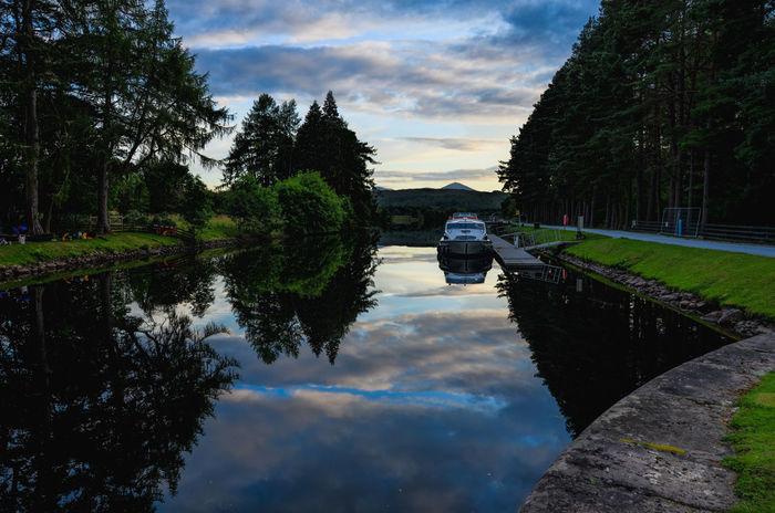 Reflection Water Tree Sky Nature Caledonian Canal Locks