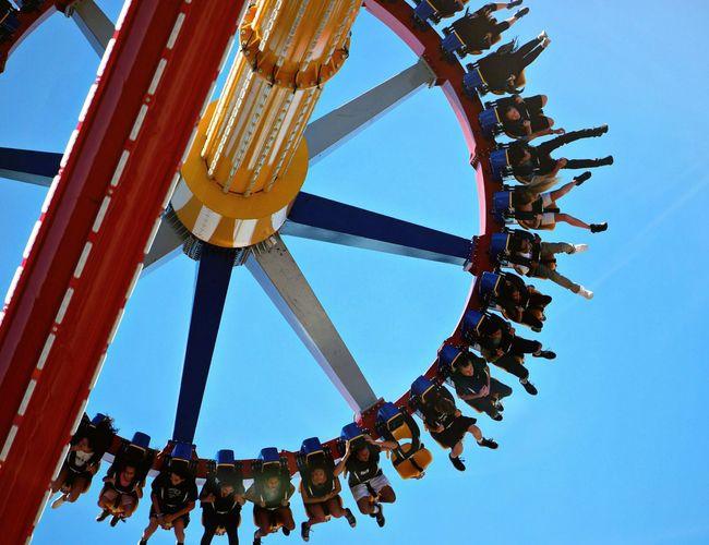 Arts Culture And Entertainment Day Low Angle View Ferris Wheel Outdoors Sky Wonder Woman Amusement Park Ride Amusement Park