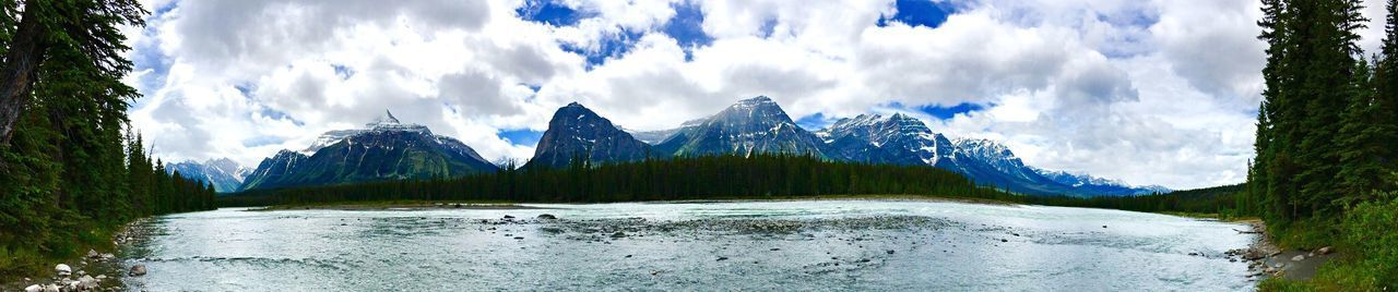 Canadian Mountains 💙 Panorama #Mountains #Lake #sky #beauty #clouds  #Blue Alberta #Canada #iPhone
