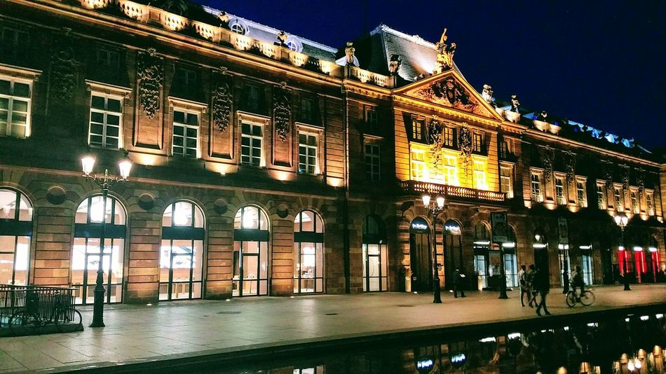 Strasbourg France Apple Store Architecture Building Exterior Window Night Outdoors Low Angle View Illuminated
