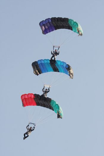 Adventure Air Sports Canopy Formation Clear Sky Day Extreme Sports Flying Fun Leisure Activity Lifestyles Low Angle View Mid-air Multi Colored Outdoors Parachute Sky Skydiving Sport Unrecognizable Person