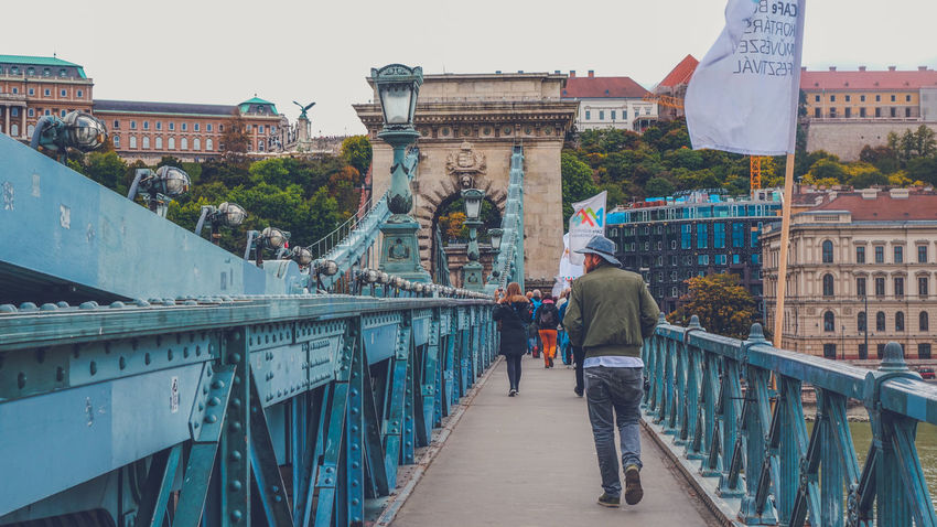 Chain Bridge in Budapest, Hungary Architecture Bridges Budapest Bridge Chain Bridge Of Budapest City Life City Architecture Cityscape Man Bridge Bridge - Man Made Structure Chain Bridge Chain Bridge Budapest City View  People Walking Walking Around The City