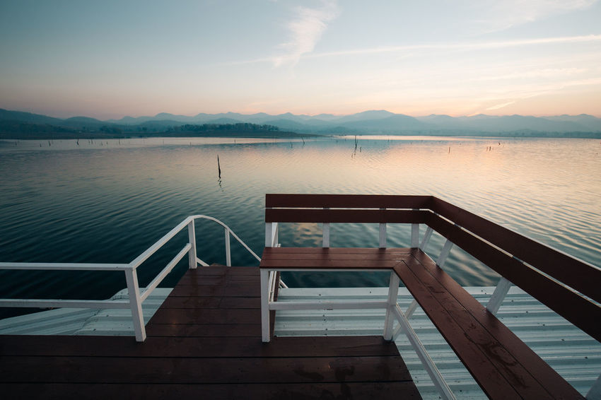 2016 Floating Floating House Lake Landscape Mountain Orange Color Resort River Sky Summer Sunrise Vintage Water Deck House Sunrise_Collection Outdoors Reflections Wood