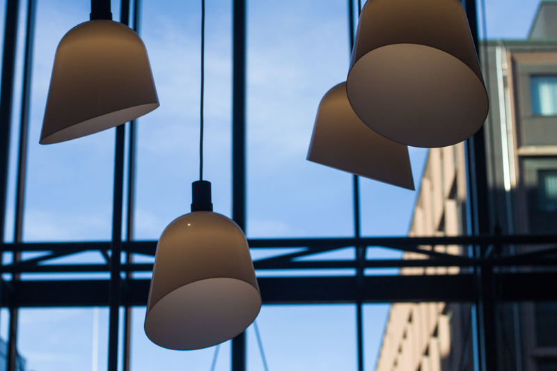 Lighting Equipment Focus On Foreground Hanging No People Built Structure Low Angle View Architecture Day Close-up Pendant Light Building Exterior Decoration Electric Lamp Illuminated Building Shape Design Metal Sky Light Ceiling Indoors