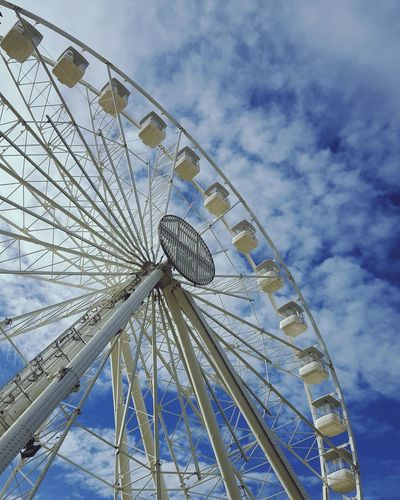 Wheel City Ferris Wheel Amusement Park Ride Arts Culture And Entertainment Blue Amusement Park Sky Cloud - Sky Close-up Big Wheel Round Circular Large