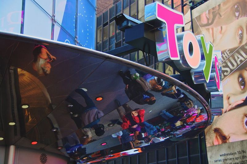 Times Square Toys Are Us Street Photography New York USA People Reflections Up Side Down
