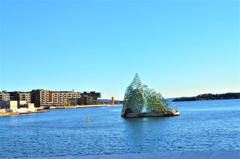 Water Sky Architecture Built Structure Clear Sky Waterfront Building Exterior Sea Copy Space Building Nature Blue Nautical Vessel Travel Destinations Day No People Travel Transportation Tourism Outdoors Oslo Norway