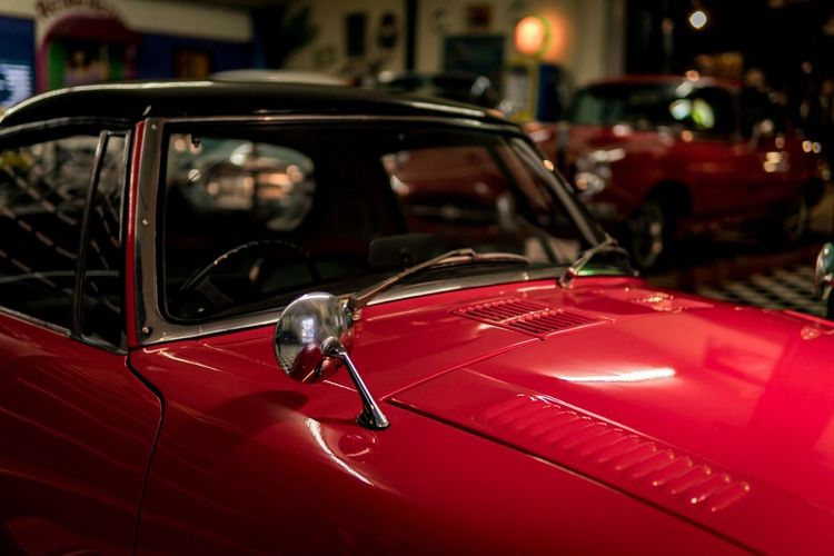 Red Car Land Vehicle Transportation Focus On Foreground Night No People Outdoors Close-up