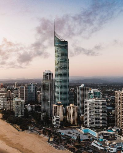 Q1 the second tallest building in the Southern Hemisphere Beach Q1 Surfers Paradise Gold Coast Building Exterior Built Structure Architecture City Sky Office Building Exterior Building Skyscraper Tall - High Cloud - Sky Cityscape Sunset Travel Destinations Landscape