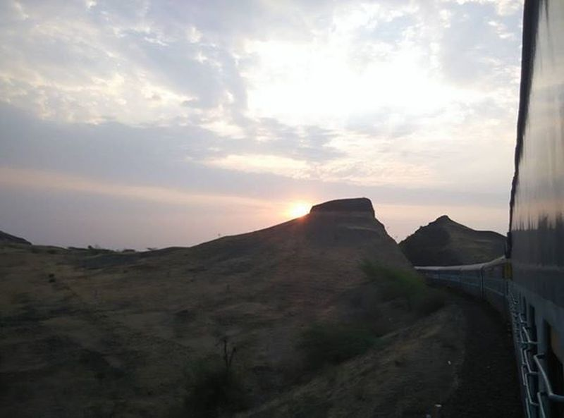 Sunrise Click On The Way On The Way Sunrise Mountains Mountain Indianrailway Indian Rail Express Journey My Commute