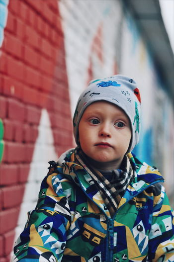 ми City Headwear Portrait Looking At Camera Front View Headshot Child Close-up Camouflage Clothing