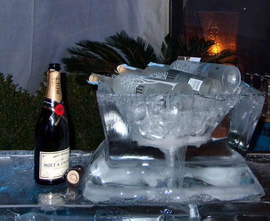 Alcohol Champagne Ice Bucket Ice Sculpture Still Life
