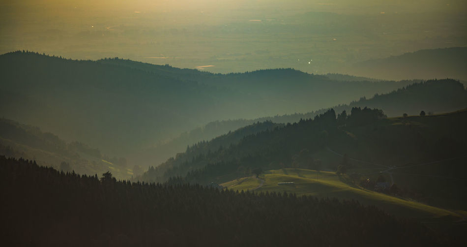 Aerial view of foggy green mountains during sunrise