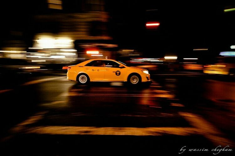 NYC CAB Taxi NYC Photography NYC Nights Capturing Movement