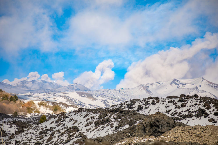 Etna Volcano Crater Mountain Winter Snow Sicily Italy Ash Cloud - Sky Sky Beauty In Nature Scenics - Nature Tranquil Scene Cold Temperature Landscape Tranquility Environment Non-urban Scene Mountain Range Day Nature Snowcapped Mountain White Color No People Outdoors Mountain Peak Range