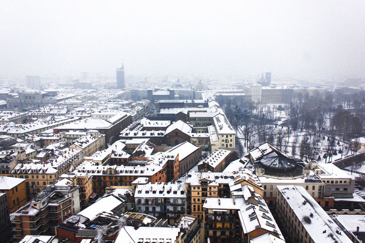Turin Urban Geometry Fog City Cityscape Urban Skyline Snow Skyscraper Winter Modern Cold Temperature Aerial View High Angle View Residential Structure Residential District Roof TOWNSCAPE Town Exterior