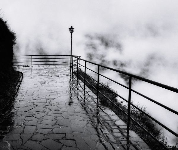 Into the fog... Cloud Fog Water Flood Railing Weather Sky Rain Rainfall Wet Foggy Rainy Season Mist First Eyeem Photo