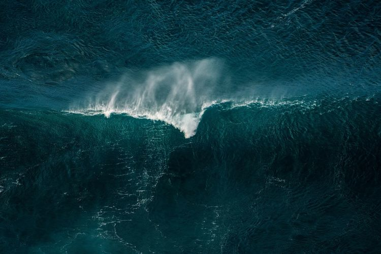Aerial View Of Wave Splashing In Seascape