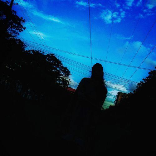 Streetphotography Girl Single Urban Shadow Sky Black Black And Blue Mobilephotography Tree Silhouette Sky