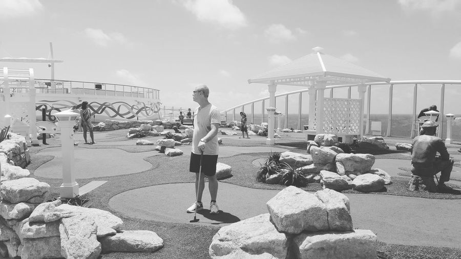 Mini golf time Outdoors People One Person Living In The Moment Taking Photos EyeEm Gallery Having Fun :) Blackandwhite Photography