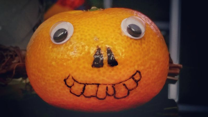 Halloween Clementine Anthropomorphic Face Indoors  Eyes No People Fun Funny Fruit Close-up Halloween Face Spooky Orange Orange Color Day Jack O' Lantern