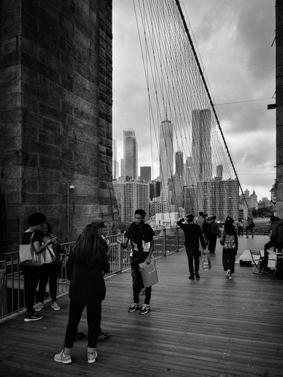 Urban life Architecture Built Structure City Group Of People Real People Travel Destinations Travel City Life Crowd Outdoors Walking Tourism New York City New York Brooklyn Bridge / New York Blackandwhite Black & White Urbex Urban Streetphotography