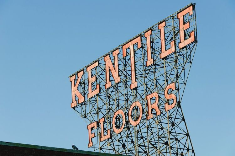 The much lamented Kentile Floors sign, a landmark in Park Slope, Brooklyn since 1949. It was taken down in June 2014. Here it is, with pigeon. Kentile Floors Signs Signage Urban Landscape Skyline Historical EyeEmBestPics