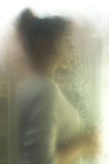 Abstract Beautiful Misterious Mystery Painting Softness Transparent Window Woman