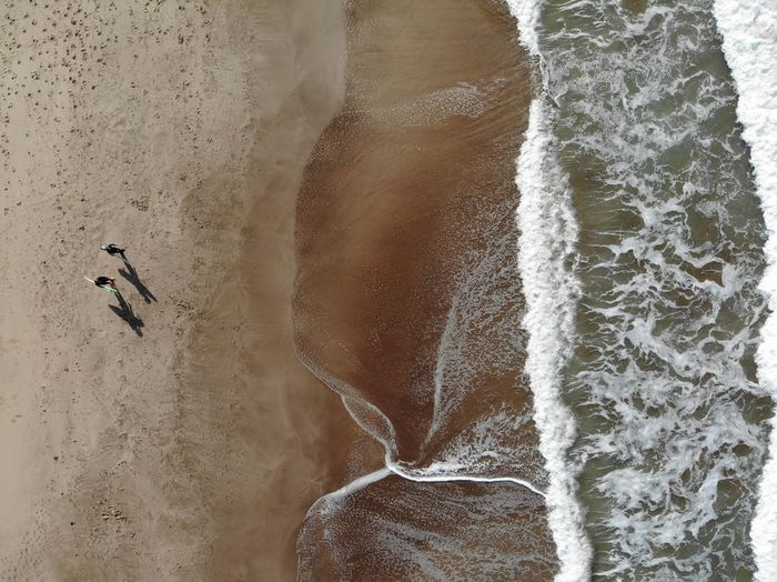 Aerial View Of Surfers At Sea Shore