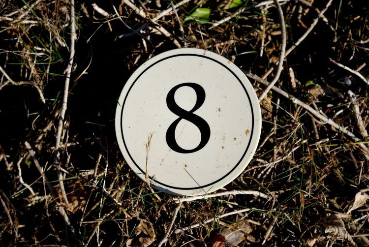 8 Numbers Only Circle Close-up Day Eight Field Grass Nature No People Number Numbers Outdoors White Color