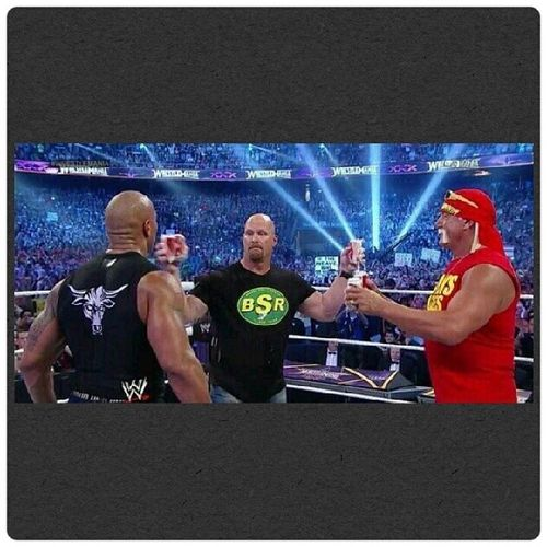 3 Legends, 3 of the Best Ever in One Ring. @wwe Wrestlemamia30 Wrestlemaniamoment . Therock StoneCold HulkHogan .